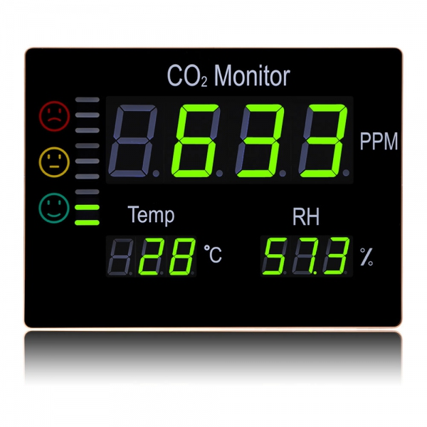 "Hti HT-2008 Wall Mount Air Quality 3"" LED Carbon Dioxide (CO2) Monitor (390x292)"