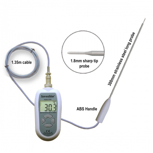 Invesible 3306 Digital handheld Thermometer 300mm long SS304 probe 1.8mm sharp point