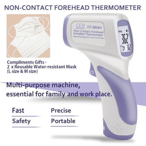 CEM DT-8806H Non-Contact Forehead Infrared Thermometer, 0~60ºC *FREE Reusable Water-Resistant Face Masks
