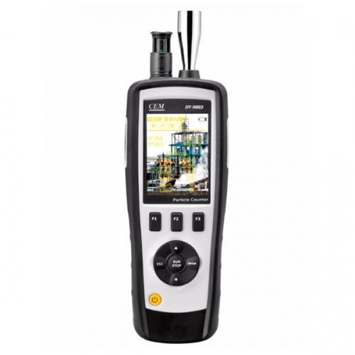 CEM DT-9883M 6-in-1 Air Particle Counter, Mass Concentration, HCHO, CO2 & TVOC Gas Detector w/ LCD, Camera