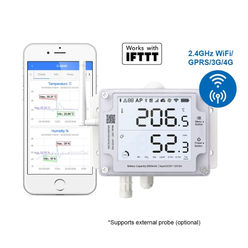 UbiBot GS1-AL4G1RS Industrial-Grade WIFI SIM Temperature Humidity Light Data Logger IoT System