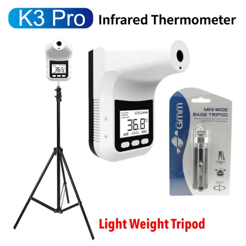 GMM K3 Pro LCD Wall & Tripod Mounted Hand-Free Non-Contact Forehead Thermometer (Indoor & Outdoor with Shelter)