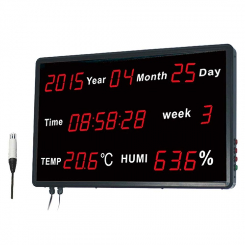 "Huato HE218B Wall Mounted 1.8"" LED Thermo-Hygrometer Date Time (601x383)"