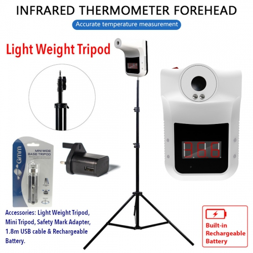 GMM K3 LED Wall & Tripod Mounted Hand-Free Non-Contact Forehead Thermometer (Indoor Only)
