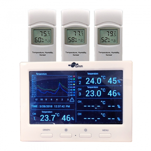 GMM Wireless Colour Display 8-Channel Weather Station with Datalogger (3 Sensors)