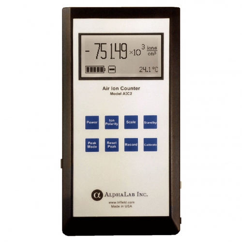 AlphaLab AIC2-R1 Air Ion Counter  +/- Air Ions Densities with Protection Case, Dual-Range: 2 million /10 (ions/cc), 200 million /100 (ions/cc)