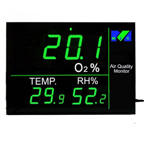 "MIC Oxygen O2 IAQ 2.2"" LED Monitor with Temp, RH, WIFI connection, Relay (304 x 215)"