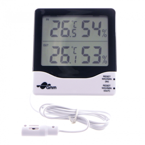 GMM 2-Channels Indoor & Outdoor Hygro-Thermometer with Sensor Probe