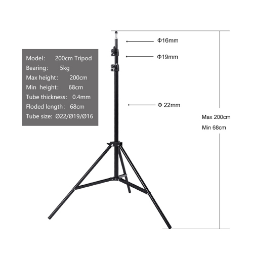 GMM 200cm Height Flexible Tripod Stand for Light, Camera, Device, Meter, Measuring Instrument